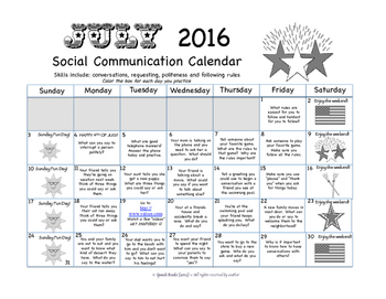 Summer Social Communication Calendars 2016 {FREEBIE}