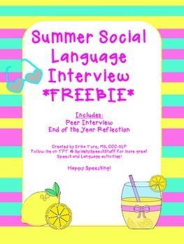 Summer Social Language Interview FREEBIE