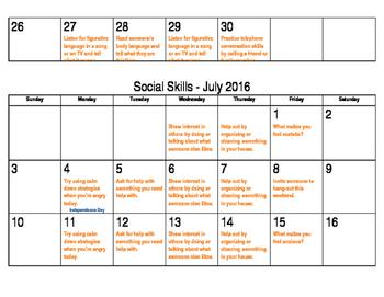 Summer Social Skills Calendars 2017