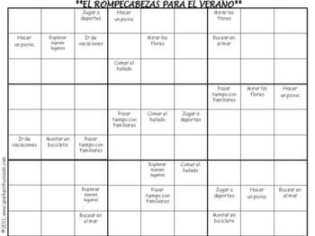 Summer Sodoku Puzzle in Spanish (El verano)