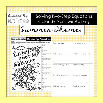 Summer Solving Two-Step Equation Coloring Sheet