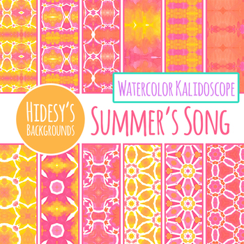 Summer Song Pink and Yellow Watercolor Backgrounds / Digital Papers Clip Art Set