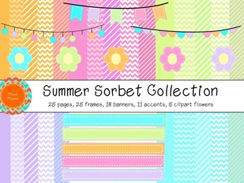Summer Sorbet - Digital Papers, Frames, Banners, and More
