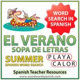 Summer Spanish Word Search - El Verano - Sopa de Letras