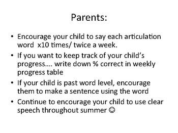 Summer Speech Activities