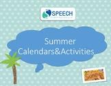 Summer Speech Activities and Calendars