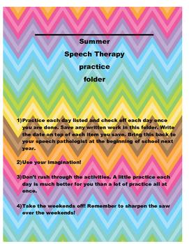 Summer Speech Activity Folder- Just add Folder!