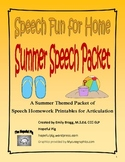 Summer Speech Articulation Printable Homework