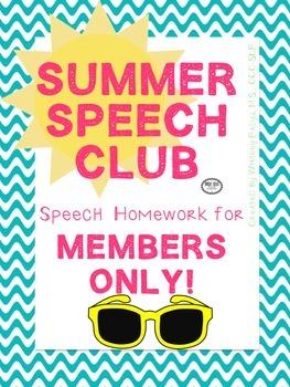 Summer Speech Club Homework