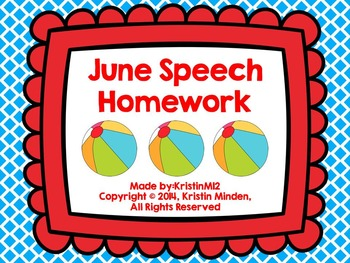 Summer Speech Homework Bundle