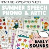 SUMMER SPEECH: Summer Break Speech Packet - EARLY SOUNDS