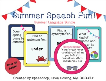 Summer Speech Language Bundle! {Common core aligned! Addresses 5 standards!}