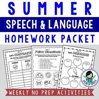Summer Language Packet - Language Enrichment Activities