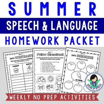 Summer Language Packet - Language Enrichment Activities