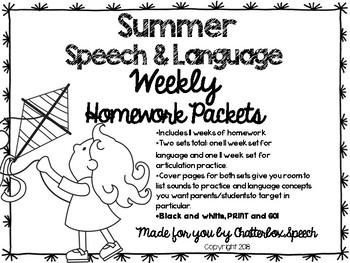 *Updated dates for 2016-17* Summer Speech & Language Weekly Homework