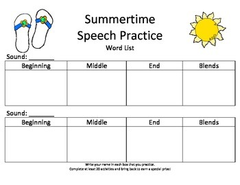 Summer Speech Practice
