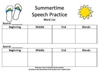 Summer Speech Practice