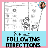 Summer Speech Therapy | Following Directions Worksheets | No Prep
