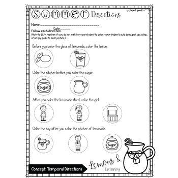 Summer Speech Therapy   Following Directions Worksheets   No Prep