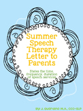 Summer Speech Therapy Letter to Parents