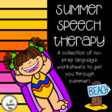 Summer Speech Therapy No Prep Language Packet