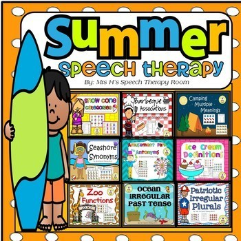 Summer Speech Therapy Themes for Grammar and Vocabulary