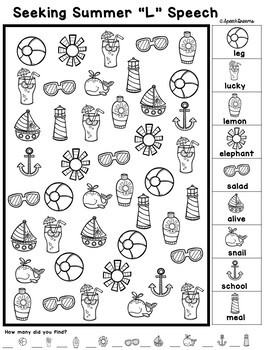 Summer Speech Therapy Seeking Activity {articulation}