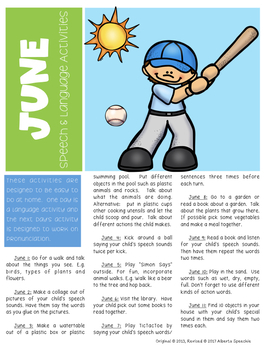 Summer Speech and Language Activitites Newsletter
