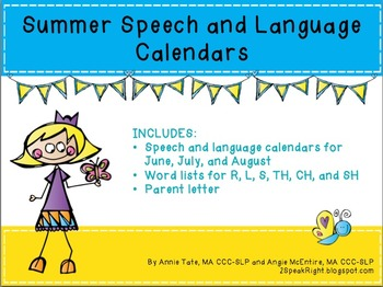 Summer Speech and Language Calendars