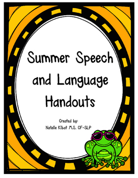 Summer Speech and Language Handouts