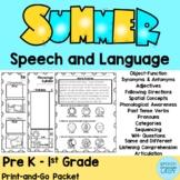 Summer Speech and Language Homework Packet Preschool-1st Grade