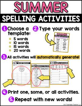 Summer Spelling Activities - EDITABLE