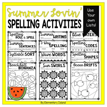 Summer Spelling Activities for ANY List