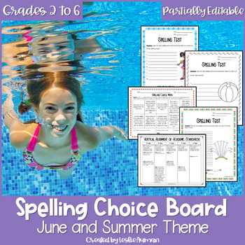 EDITABLE Summer Spelling Choice Board
