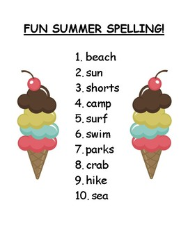 Summer Spelling List and Pre-Test