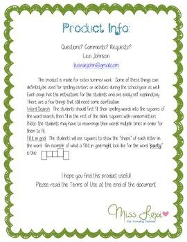 Summer Spelling Packet