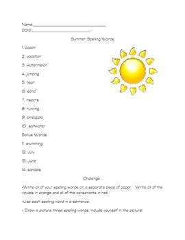 Summer Spelling Words