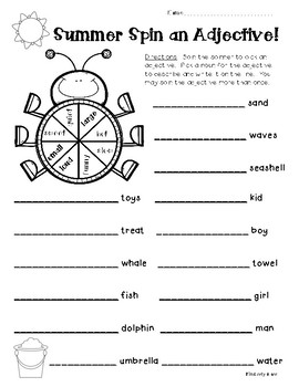 Summer - Spin and Adjective! Worksheet by 4 Little Baers | TpT
