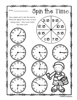 Summer - Spin the Time: Telling time :15 (quarter past) /
