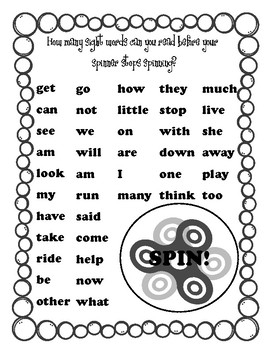 Summer Spinner Sight Word Packet