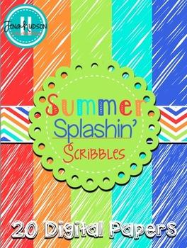 Summer Splashin' Scribbles Digital Paper