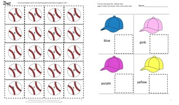 Baseball Math & Literacy Printables Kindergarten Centers Special Education Math