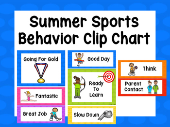 Summer Sports Behavior Clip Chart