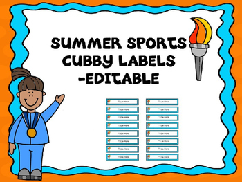Summer Sports Cubby/Locker Labels -Editable
