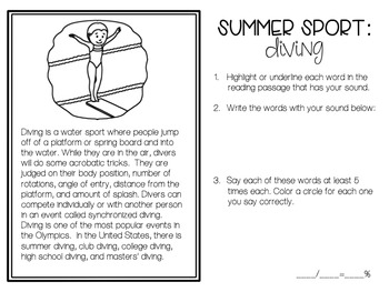 Summer Sports No-Prep Speech and Language Packet