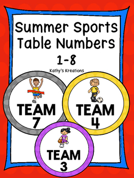 Summer Sports Table Numbers 1-8