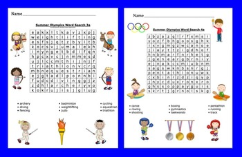 Summer Sports Word Searches-Variety of Levels-Summer School