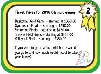 Summer Olympics 2016 Sports in Rio Brazil Math Task Cards