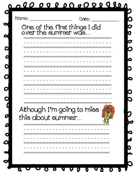 Summer/Spring Break Writing Activity (Worksheets)