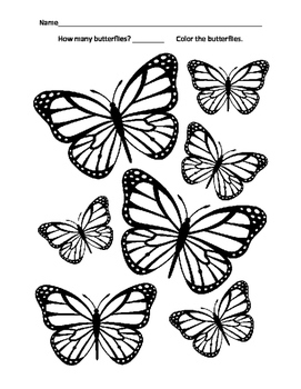 Summer Spring Math Number 7 Seven Butterfly Butterflies Color Fine Motor Skills